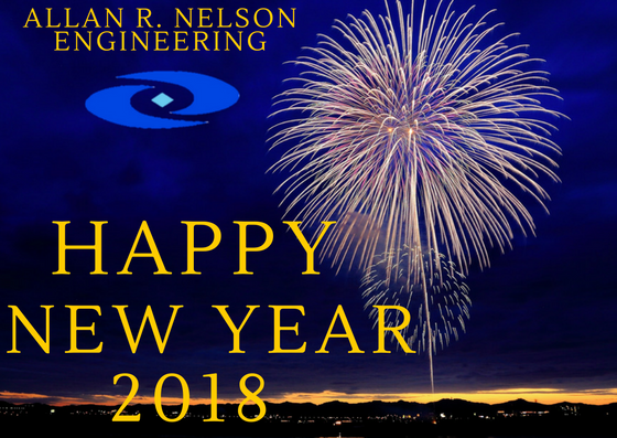 Fireworks with the text Allan R. Nelson Engineering, Happy New Year 2018